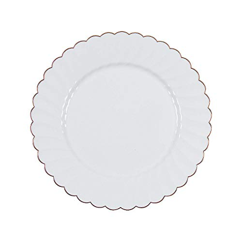(Fun Express - Prem Elegance Dinner Plate Rose Gld Edge for Wedding - Party Supplies - Solid Tableware - Solid Plates & Bowls - Wedding - 25)