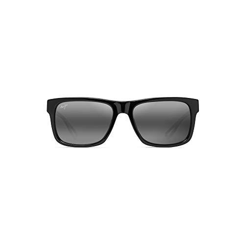 (Maui Jim Chee Hoo 765-02 | Polarized Gloss Black Classic Frame Sunglasses, Neutral Grey Lenses, with Patented PolarizedPlus2 Lens Technology)