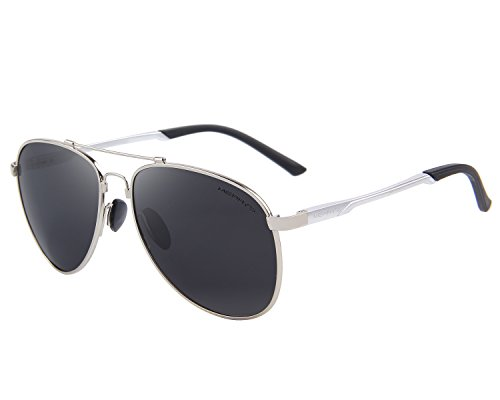 MERRY'S Mens Polarized Aviation Super light Flexible Frame Sunglasses S8716 (Silver, - Aviation Glasses
