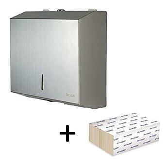 Dispensador de toallas de mano comercial con acero inoxidable pulido 201. Soporte de pared con 200 hojas de papel Z-Interfold Con cerradura, diseñado ...