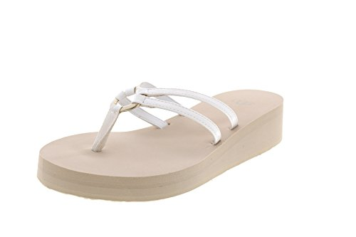 White Ugg Straps Sandie Style Flip Flops Wedge With Women's Patent xzqfB