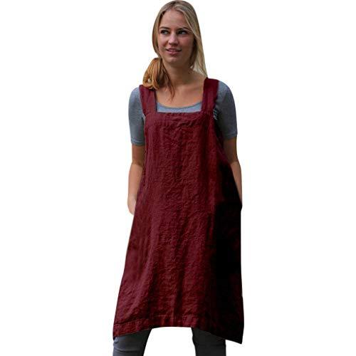 (TIFENNY Apron Strap Dresses for Women Cotton Linen Square Cross Garden Work Pinafore Dress Casual Apron Dresses Red)