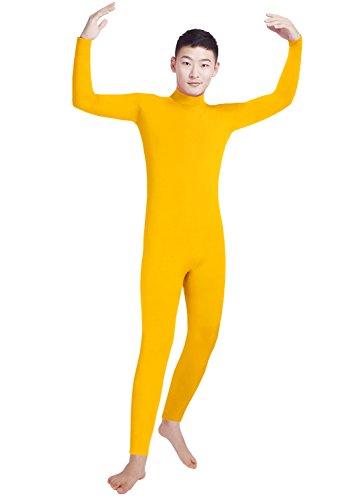 Unitard Dancewear (Shinningstar Men's Lycra Spandex Turtleneck Long Sleeve One Piece Dancewear Unitard Bodysuit (L, Yellow))