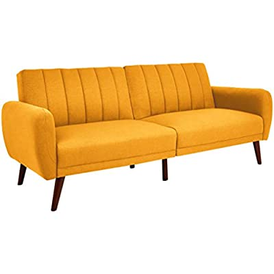 Sunrise Coast Torino Modern Linen-Upholstery Futon with Wooden Legs, Dijon - Futon couch transitions easily from a couch to a bed (back cushions fold down); offers contemporary style and space-saving versatility Comfortable polyester and foam filling; cushioned seat and back with ribbed tufted detailing; curved armrests Premium linen upholstery in a regal golden hue; wipes clean easily - sofas-couches, living-room-furniture, living-room - 31CO9MTTv9L. SS400  -