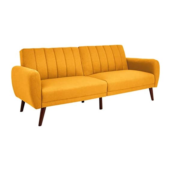 Sunrise Coast Torino Modern Linen-Upholstery Futon with Wooden Legs, Dijon - Futon couch transitions easily from a couch to a bed (back cushions fold down); offers contemporary style and space-saving versatility Comfortable polyester and foam filling; cushioned seat and back with ribbed tufted detailing; curved armrests Premium linen upholstery in a regal golden hue; wipes clean easily - sofas-couches, living-room-furniture, living-room - 31CO9MTTv9L. SS570  -
