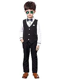 luobobeibei Boy Slim Fit Dress Wear Stripes Formal Suit Set Wedding Suit