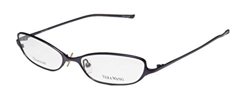 Vera Wang V34 Womens/Ladies Optical With Hard Case Designer Full-rim Titanium Eyeglasses/Spectacles (49-16-130, - Rim Full Eyeglasses Metal