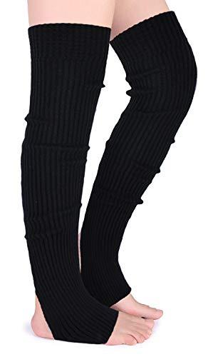 Leg Acrylic Warmers (Joyingtwo Crochet Footless Long Socks Ribbed Knee Thigh Highs Leg Warmers for Women (C-black))