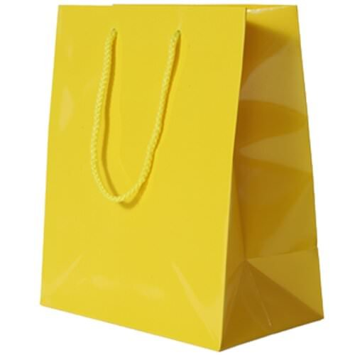 JAM Paper® Glossy Gift Bags with Rope Handles - Large - 10 x 5 x 13 - Yellow - Sold Individually