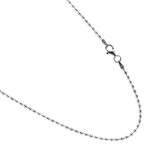 JOSCO Rice Bead Sterling Silver Chain. 1.75 by 3mm Italian Necklace. 16,18,20,22,24,30