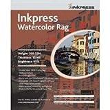 "Inkpress Watercolor Texture Matte Archival Cotton Rag Inkjet Paper, 15 mil, 200 gsm, 13x19"", 25 Sheets"