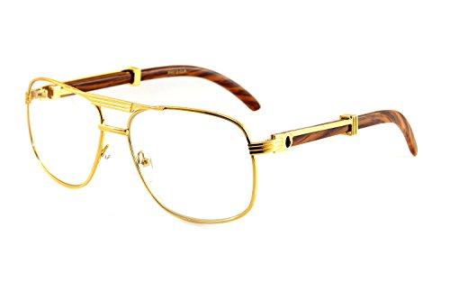 FBL Unisex Vintage Style Clear Lens Metal & Wood Feel Eyeglasses UV 400 Protection A071 (Gold/ - Aviator Style Eyeglasses