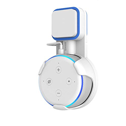 Geeoce Outlet Wall Mount Holder for Dot 3rd Generation,A Space-Saving Solution for Your Smart Home Speakers,Built-in Cable Management Without Messy Wires or Screws (White)