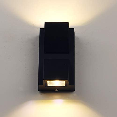 Pathson Outdoor Wall Sconce 3000K Warm White, Modern LED Wall Light Waterproof Porch Lighting, Matte Black Up Down Wall Lighting for Porch Front Door Warm Light