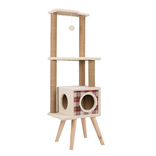 CO-Z 3-Level White-Lint-Covered Cat Tree with Chipboard Construction, Sisal-Rope-Wrapped Scratching Post and 4 Stabilizing Legs (3 Level Cat Tree)