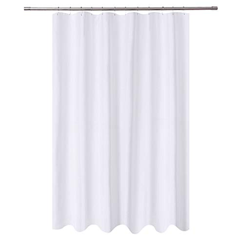 N&Y HOME Extra Long Shower Curtain Liner Fabric 72 x 96 inches, Hotel Quality, Washable, Water Repellent, White Spa Bathroom Curtains with Grommets, 72x96