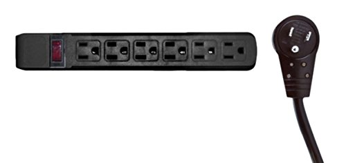 C&E 5 pack, Surge Protector, Flat Rotating Plug, 6 Outlet, Horizontal Outlets, Plastic, Power Cord, 25 Feet, Black, CNE471476 by C&E