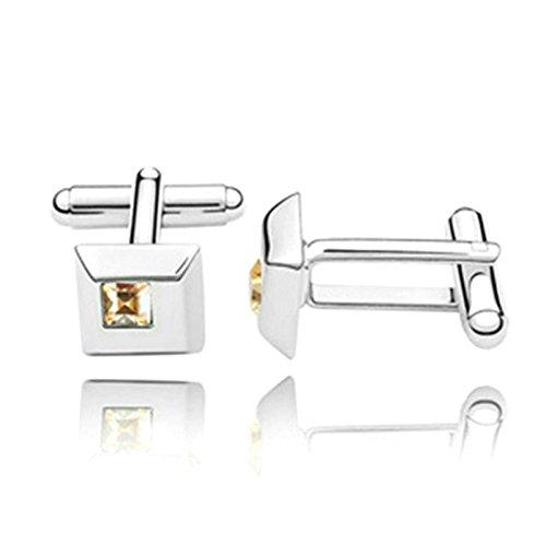 Novelty Silver Plated Cufflinks Square Crystal Cufflinks For mens womens Wedding Gold CZ 1.1CM1.1CM1.75CM Unique tuxedo classic Cufflinks With Jewelry Box Aooaz Jewelry