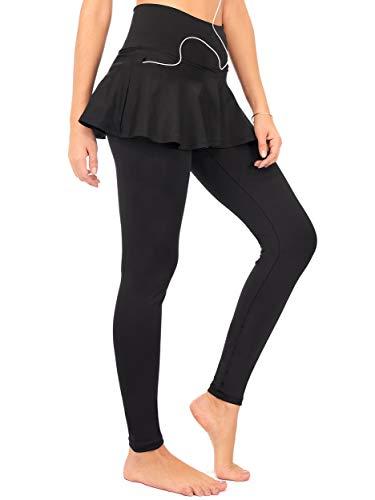 - DEAR SPARKLE Skirted Leggings for Women | Yoga Tennis Golf Pants with Skirt Pockets + Plus Size (S9) (Black, Medium)