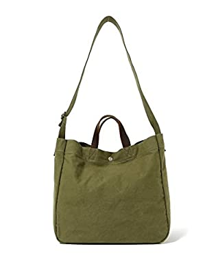 Heavy Duty Canvas Travel Tote Handbag Shoulder Bag Crossbody Bags For Men And Women Leather Handle & Strap