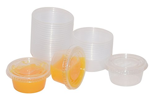 Plastic Jello Shot/Portion/Condiment Cups with Lids, 2 Ounce - 55 Count