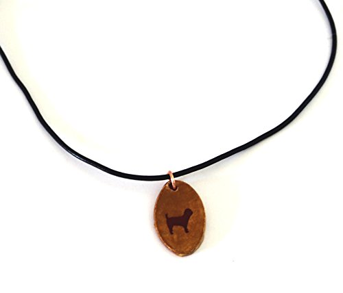 Miniature Poodle Dog Silhouette Necklace Pendant Jewelry Ceramic Pottery Oval (Pottery Silhouette)