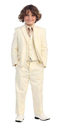 5 Pc Little Boys Off White Suit, Vest, Pants, Khaki Shirt & Solid Tie 4T