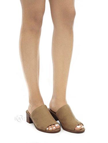 Stad Klassificeras Mve Skor Kvinna Öppen Tå Chunky Klack Mocka Glid Sandaler Naturliga