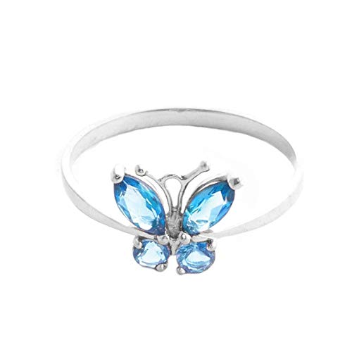 Galaxy Gold High Polished 14k Solid White Gold 0.6 ctw Blue Natural Topaz Butterfly Ring - Size 9.5 (Butterfly Vs2 Ring)