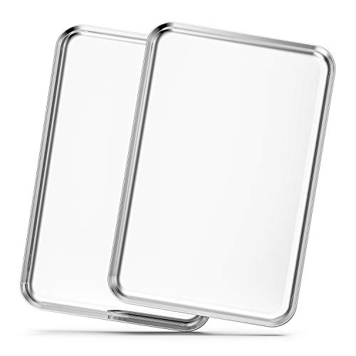 (Baking Sheets Set of 2, Bastwe 20 inch Stainless Steel Bakeware Baking Pans, Healthy & Nontoxic & Rustproof & Easy Clean & Dishwasher Safe)
