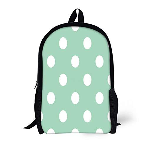 - Pinbeam Backpack Travel Daypack Huge White Polka Dots on Retro Vintage Mint Waterproof School Bag