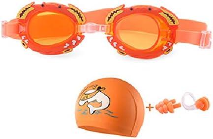 JSJJAUJ Swimming Goggles New Children Swimming Goggles Anti-Fog Kids Dolphin Swim Cap Set Eyewear Cartoon Crab Water Goggles Arena Swimming Glasses (Color : Orange Crab)