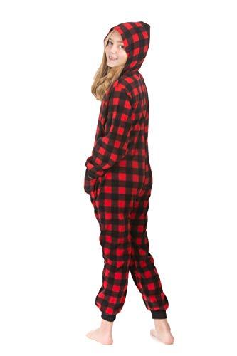 - Hoodie Onesie Jumpsuit Pajama in Buffalo Plaid Fleece for Boys & Girls