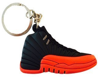 Nike Jordan 12 XII Black Red Flu Game 2D Flat Sneaker Keychain by SPUSA