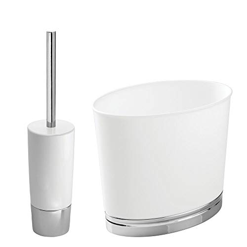 mDesign Modern Compact Freestanding Plastic Toilet Bowl Brush and Wastebasket Garbage Can Combo Set for Bathroom Storage - Sturdy, Heavy Duty, Deep Cleaning - Set of 2 - ()