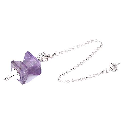 DLNCTD Natural Stone Swing Dowsing Pendulum Funnel Shaped Symmetry Splice Pyramid Healing Pendant Wicca Pendule for Women Men F763