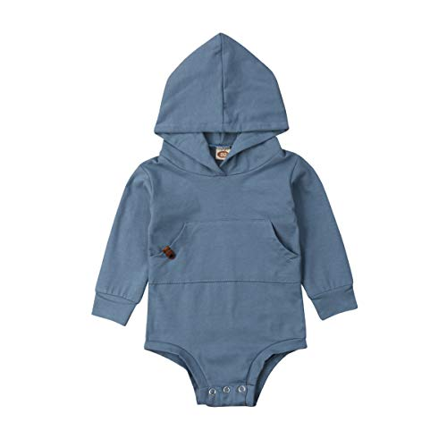 bebiullo Newborn Baby Girl Boy Clothes Hoodie with Pocket Bodysuit Romper Solid Color Outfit Clothing (6-12M, Blue 1)