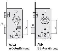 Einsteckschlo/ß f/ür Objekt-Innent/üren Kl.3 WC 78//65 Links Edelstahl