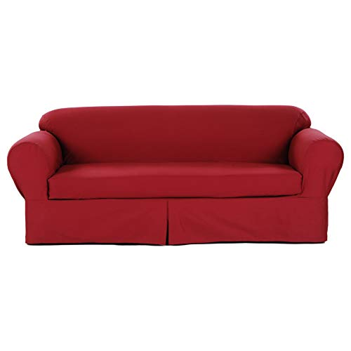 Two Piece Dark Red Home Decor Slipcover, Relaxed Fit Sofa Cover, 100% Cotton Material Slipcover for Living Room, Strong and Durable, Ideal for High-Traffic - Slipcover Rib Loveseat