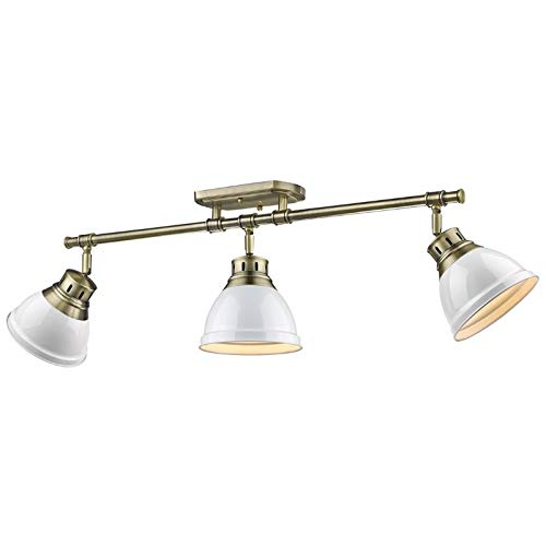 Beaumont Lane 3 Light Track Light in Aged Brass with a White Shade