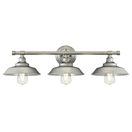 Three Big Shade Light (Westinghouse Lighting 6354700 Iron Hill Three-Light Indoor, Galvanized Steel Finish with Metal Shades WALL FIXTURE, 3)