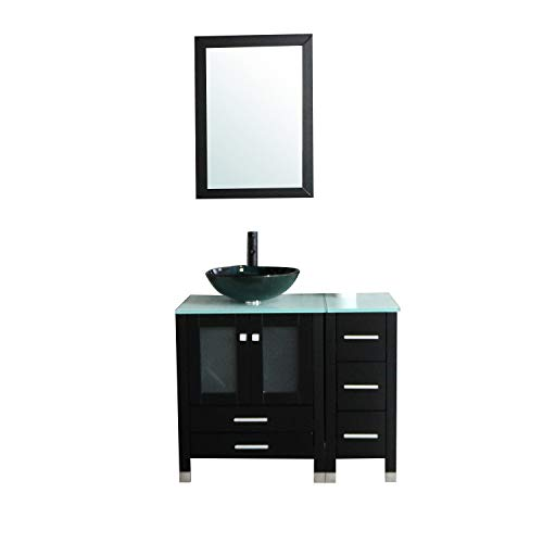 Walcut 36″ Bathroom Vanity with Sink – MDF Wood Cabinet and Glass Vessel Sink and Faucet Combo (3) Review