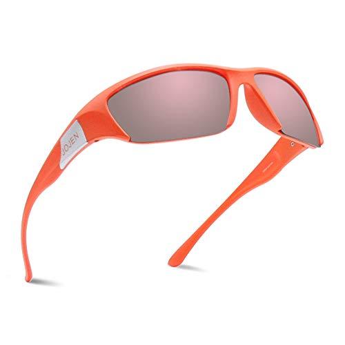JOJEN Polarized Sports Sunglasses for Men Women Cycling Running Golf JE002 (Orange Frame Pink REVO Lens)