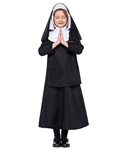 HX Children's Nun Halloween Cosplay Costumes for Girls (Black, XL/fit 9-10 Years)