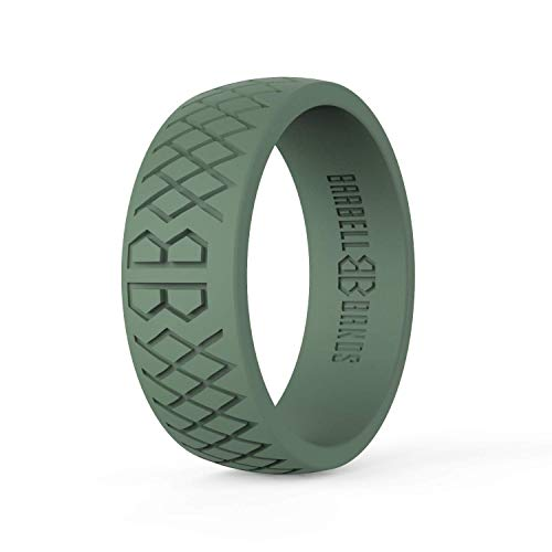 Barbell Bands Silicone Ring for Men | Premium Rubber Wedding Band | Perfect for Tactical Jobs, Weightlifting, Active Lifestyle (Tactical Green, 9)