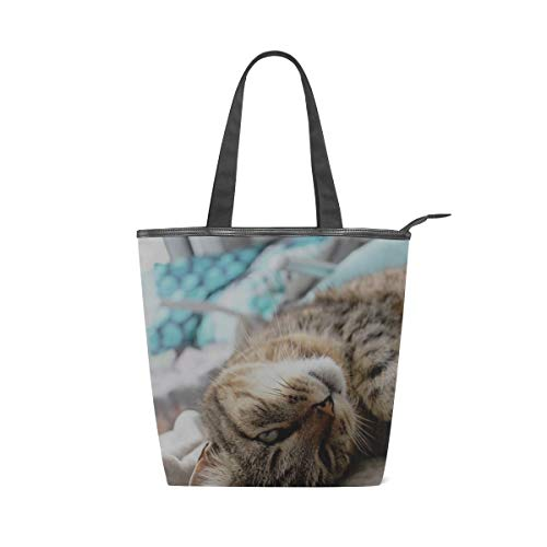 (Your Home Canvas Tote Bags Cat Feline Kitty Twink Kitten Top Handbags Casual Shoulder Travel Bag With Zipper For Women)