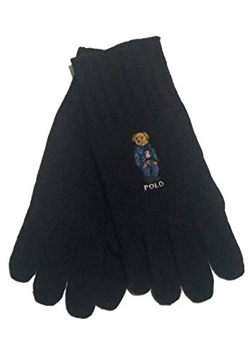 n's Jean Jacket Polo Bear Black Acrylic/Wool Gloves One Size ()