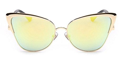 GAMT Womens Fashion New Durable Cat Eye Wayfarer Sunglasses Goggles UV400 Gold Framed Gold - Eye Look New Cat Metal Sunglasses