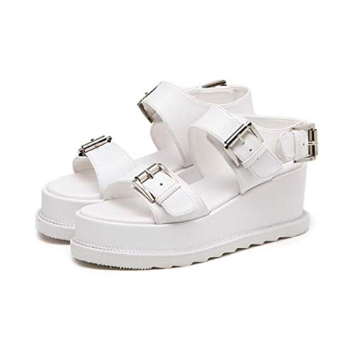 - VOWAN Women's Comfy Double Buckle Ankle Strap Platform Sandals Open Toe Outdoor Adjustable Buckles Shoes White