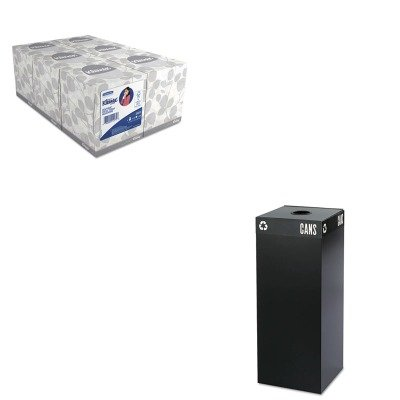 KITKIM21271SAF2983BL - Value Kit - Safco Public Square Recycling Container (SAF2983BL) and KIMBERLY CLARK KLEENEX White Facial Tissue (KIM21271) by Safco